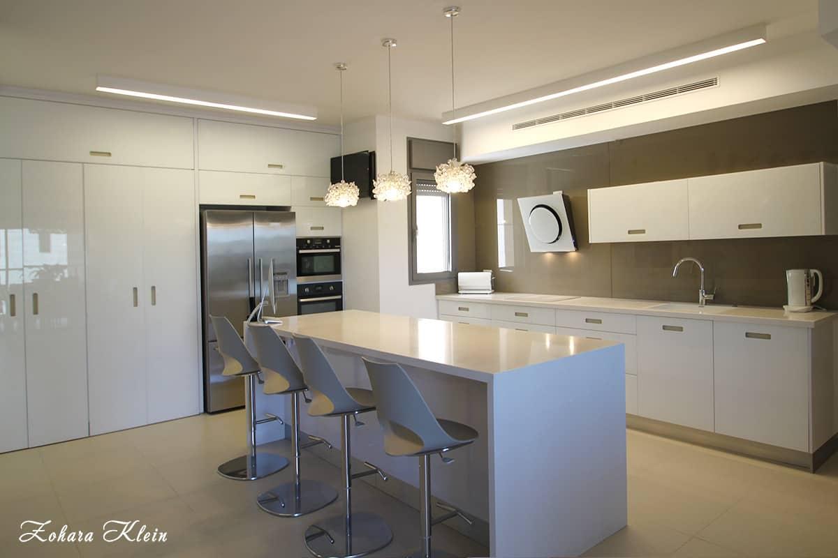 מטבח מודרני דלתות ארונות עשויות זכוכית זכוכית