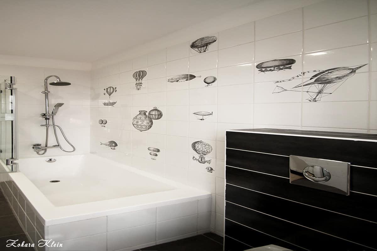 עיצוב אמבטיה בצבעי שחור לבן