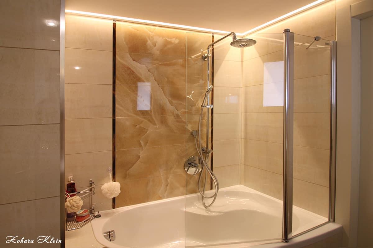 עיצוב אמבטיה פינתית
