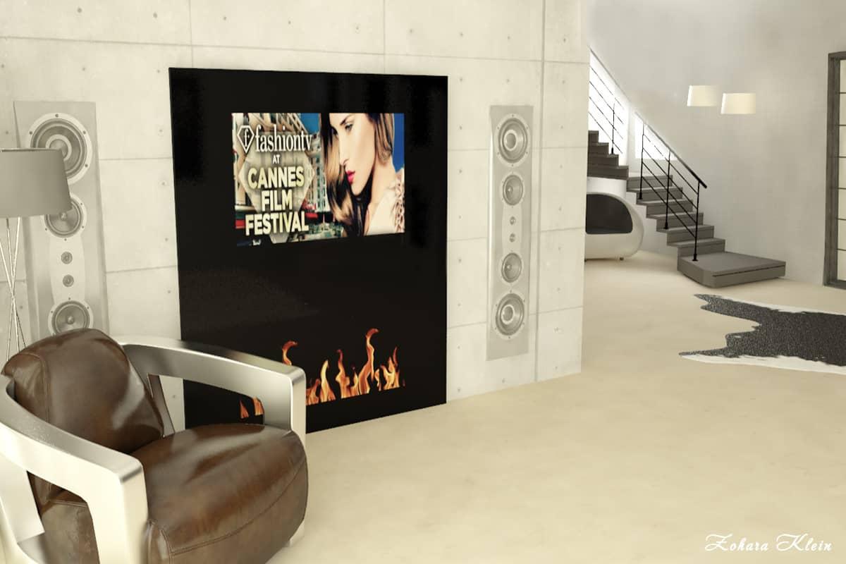 עיצוב בתים פרטיים בשרון | עיצוב קיר טלוויזיה
