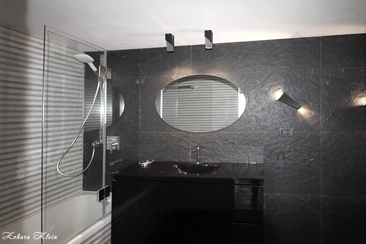 עיצוב חדר רחצה שחור דומיננטי