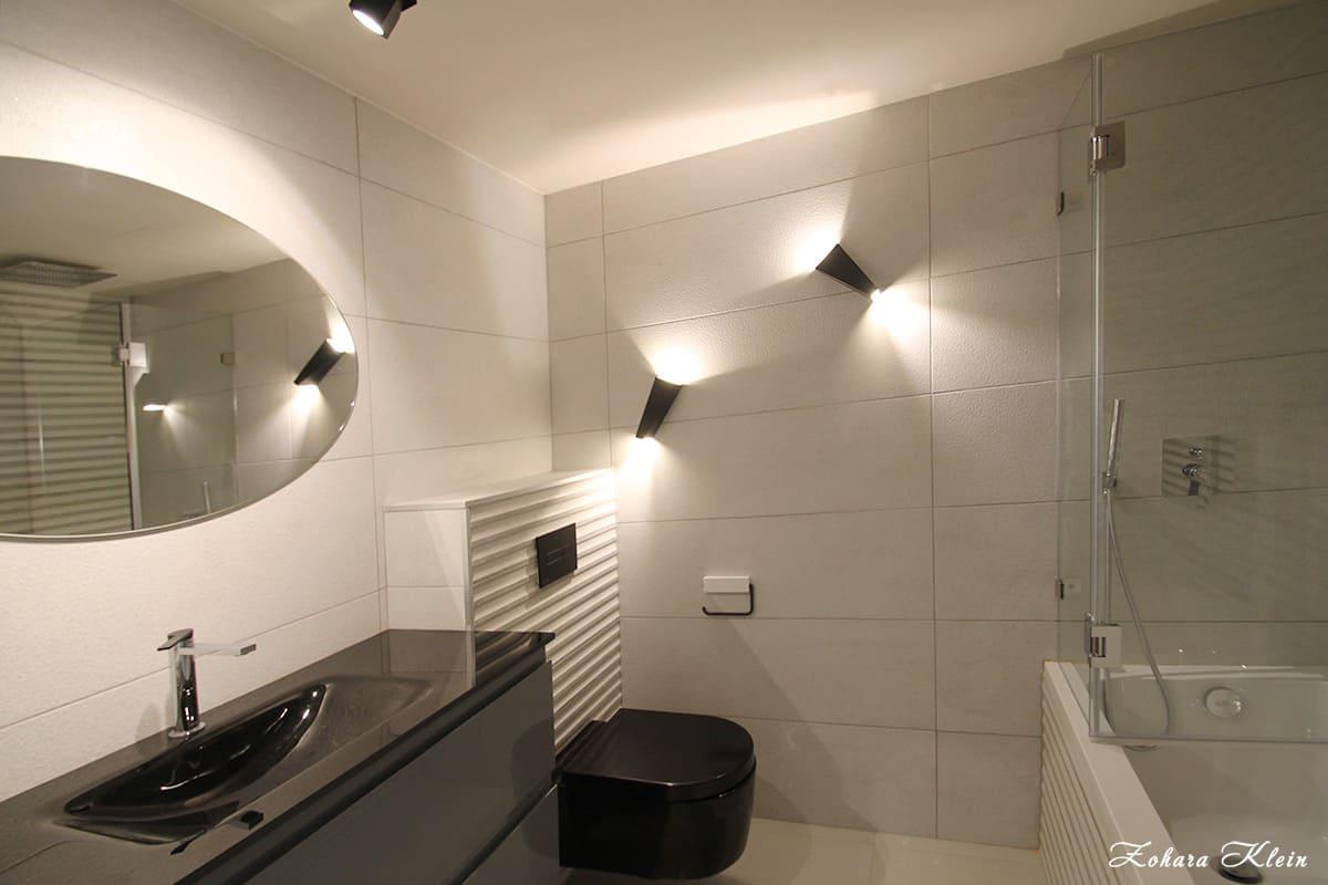 עיצוב חדר רחצה בשילוב עיצוב תאורה