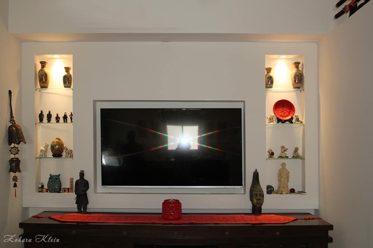 עיצוב קיר טלוויזיה בסגנון יפני
