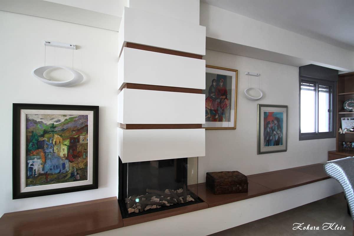 עיצוב דירת יוקרה בתל אביב - פינת קמין
