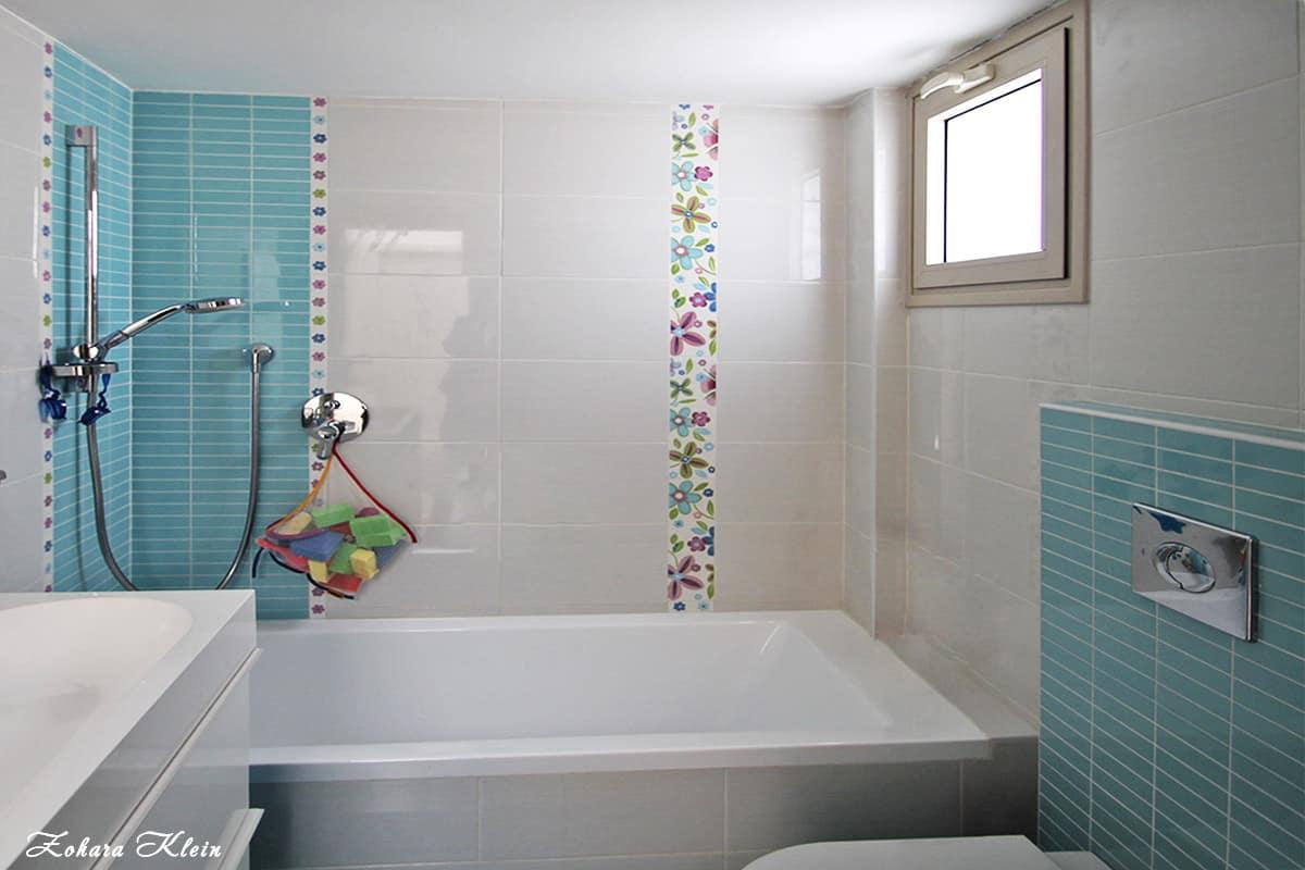 עיצוב חדר רחצה ילדים רגוע ודינמי בשיפוץ דירה