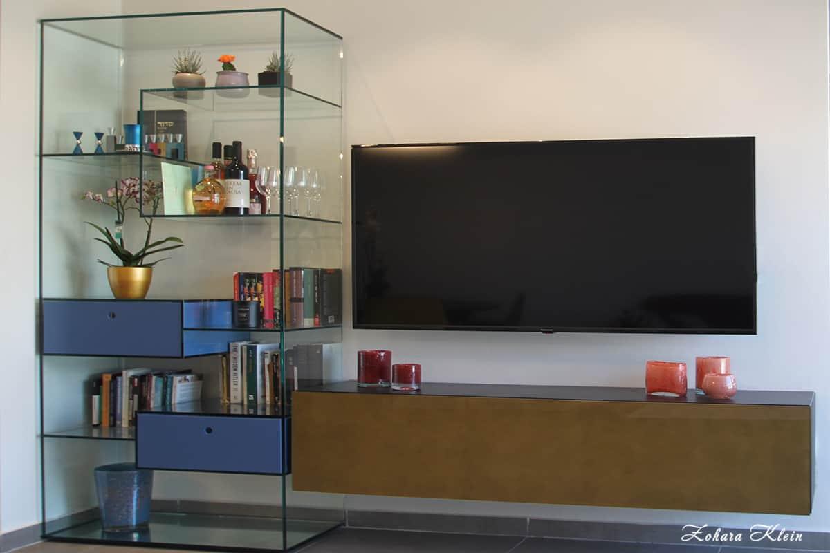 עיצוב פינת טלוויזיה מיוחדת - דירה בהרצליה